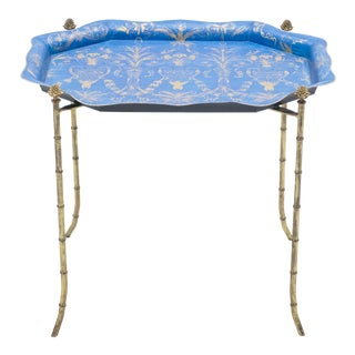 1960s French Maison Baguès Bronze Blue Tray Table For Sale