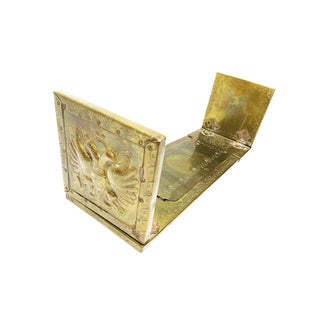 Vintage Adjustable / Sliding Hand Crafted Brass Bookends With Crest Motifs and Detailing For Sale
