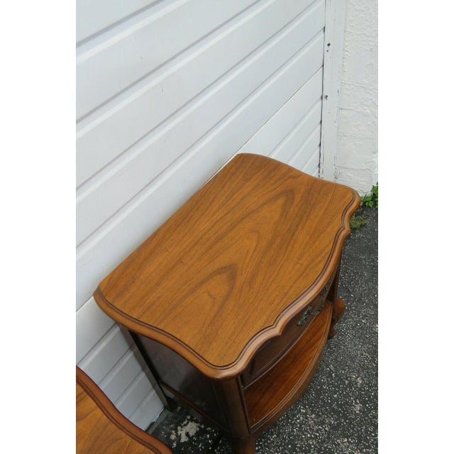 Wood French Cherry Nightstands Side End Tables - a Pair For Sale - Image 7 of 13