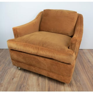 Mid Century Vintage Hollywood Regency Tan Velvet Club Chair on Casters Preview