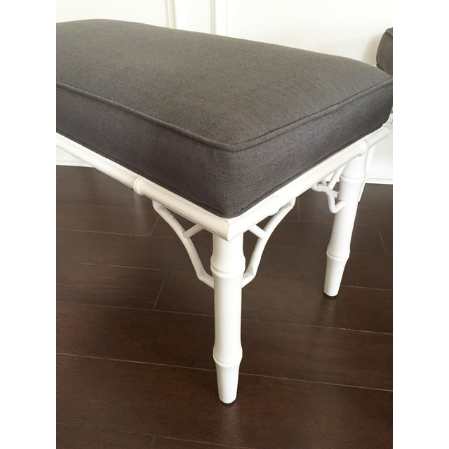 Vintage Faux Bamboo Upholstered Bench For Sale - Image 4 of 9