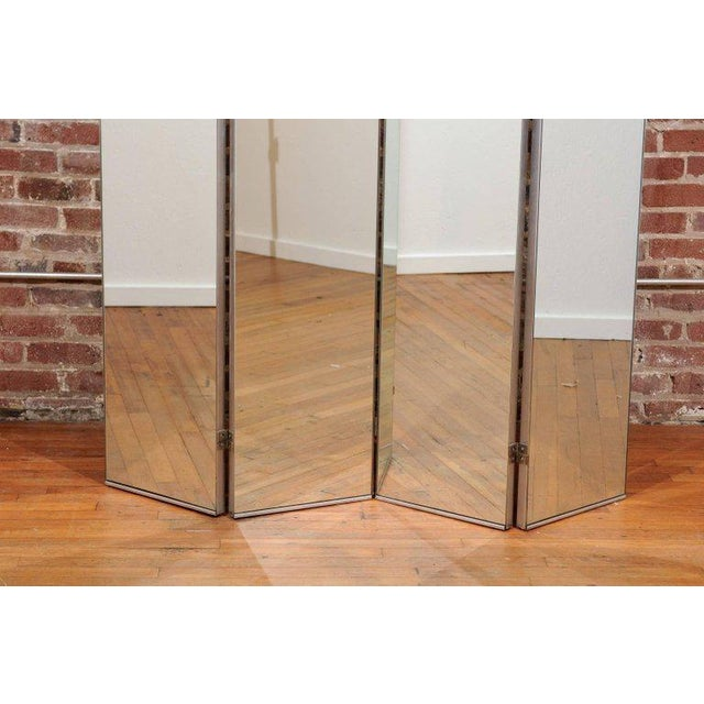 1930s Machine Age Mirrored Four-Panel Screen For Sale - Image 5 of 10