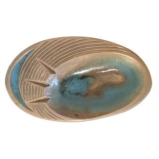 Retro Turquoise and Cream Oval Ashtray For Sale