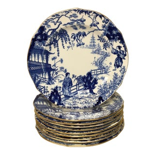 Royal Crown Derby Mikado Blue & White Dessert Salad Plates Set of 10 For Sale