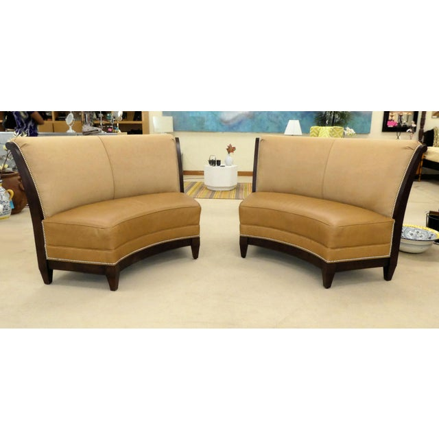 A stunning pair of beautifully made Garrett curved benches by Stanford Furniture. Features a graceful curve with exposed...