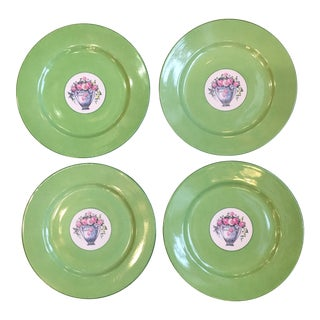 1930s T & V Limoges Green Floral Salad Plates - Set of 4 For Sale