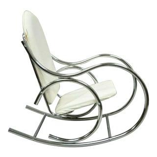 Mid Century Modern Sculptural Chrome Thonet Rocking Chair For Sale