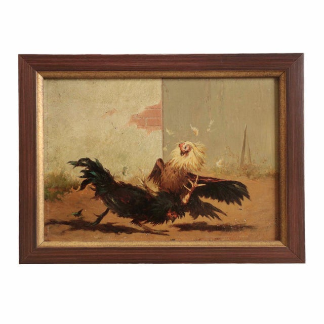 Set of Four William Baird Barbizon Paintings of Cocks Fighting For Sale - Image 5 of 10