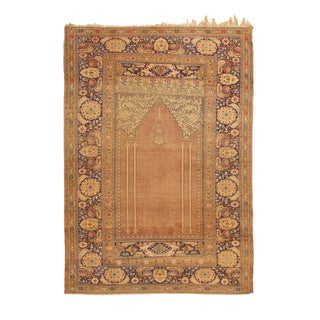 1900s Antique Kayseri Beige and Pink Wool Rug- 3′9″ × 5′5″ For Sale