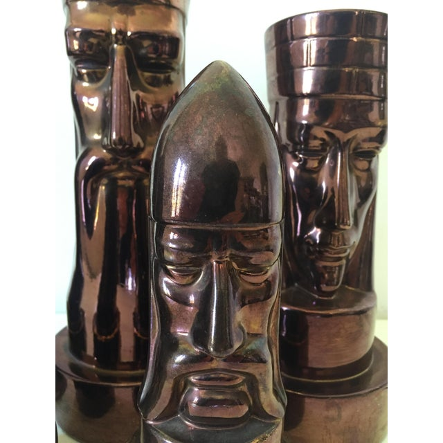 Gold 1940s Peter Ganine Metallic Copper-Colored Ceramic Chess Pieces - Set of 5 For Sale - Image 8 of 10
