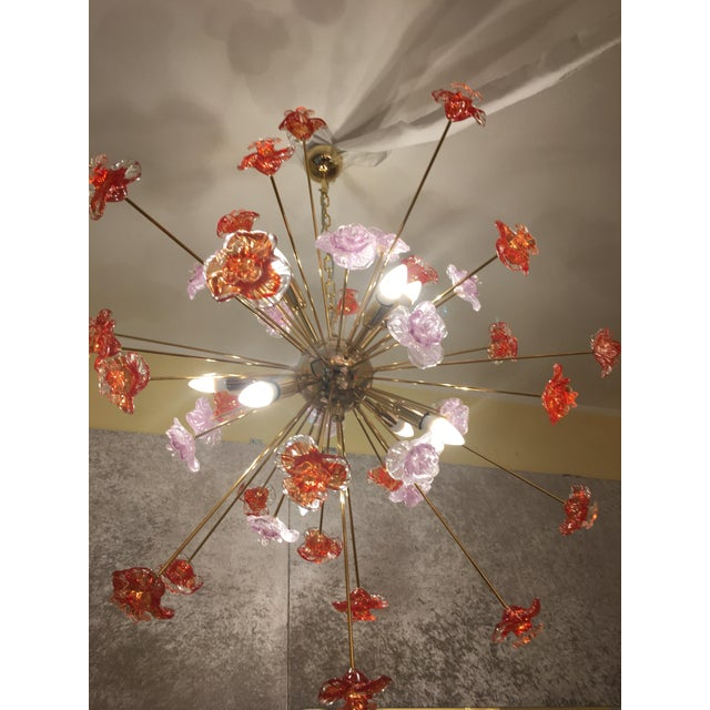 Red Murano Glass Flowers Chandelier For Sale - Image 8 of 10