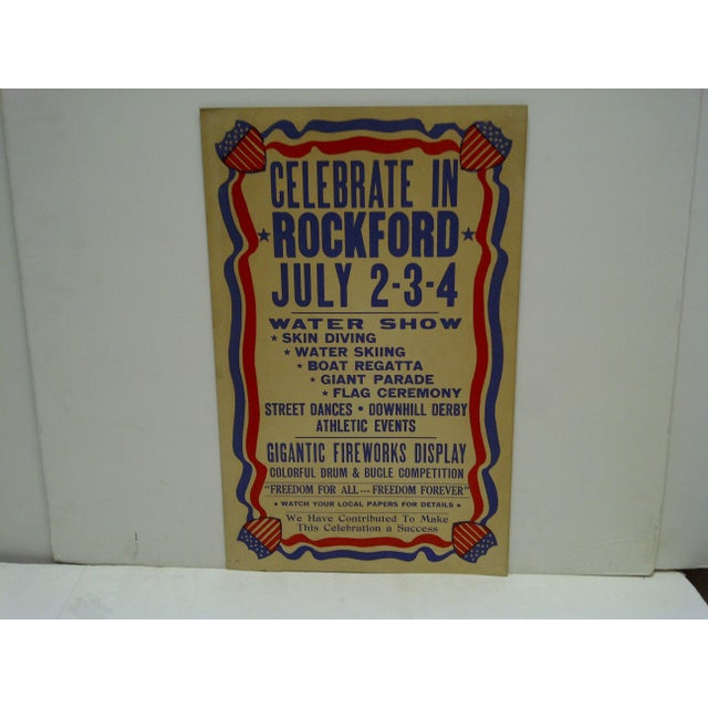 "This is a vintage July 4th Independence Day Poster -- ""Celebrate In Rockford"" -- July 2-3-4."