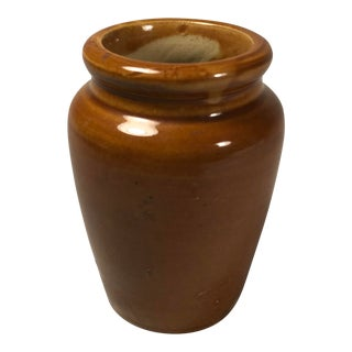 Antique English Brown Ceramic Apothecary Jar, Unmarked For Sale