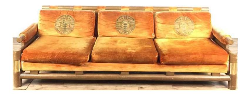 Asian Custom Velvet Upholstered Sofa