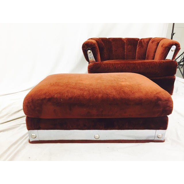 Vintage Mid-Century Modern Chair & Ottoman For Sale - Image 5 of 11