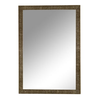Contemporary Metal Framed Beveled Mirror For Sale
