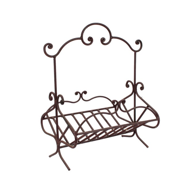 Antique French Wrought Iron Log Holder For Sale In Los Angeles - Image 6 of 6