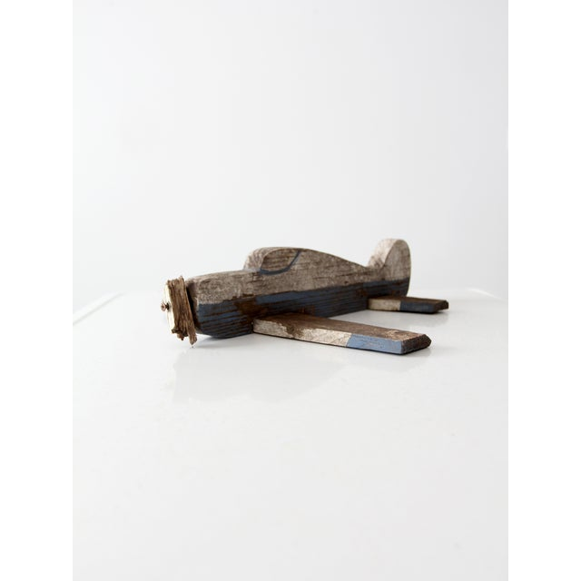 Shabby Chic Vintage Wooden Toy Airplane For Sale - Image 3 of 8