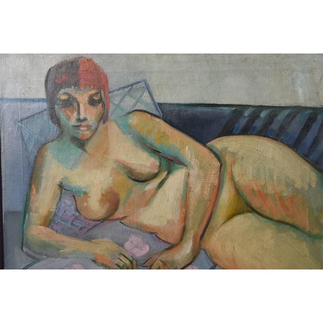 Mid-Century Modern F. Krieger Mid-Century Modern Nude Female Painting For Sale - Image 3 of 7