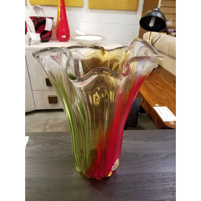 2000s Murano Red, Orange, & Green Hand-Blown Rippled Vase For Sale - Image 5 of 5