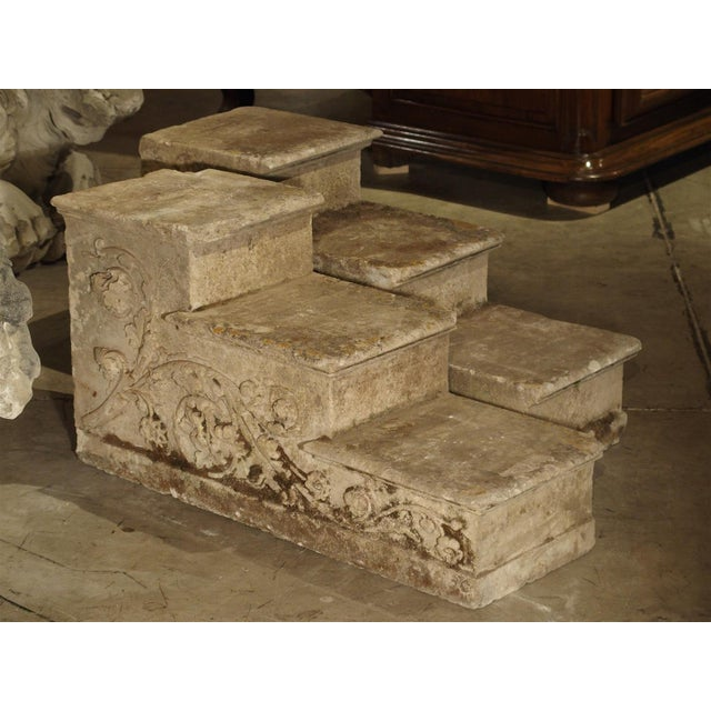 Carved Stone Steps : World class elegant pair of carved stone stairs or stair