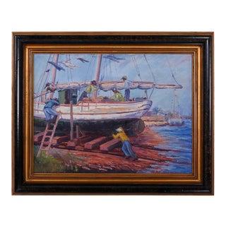 Vintage Impressionist Oil Painting of a Harbor Scene For Sale