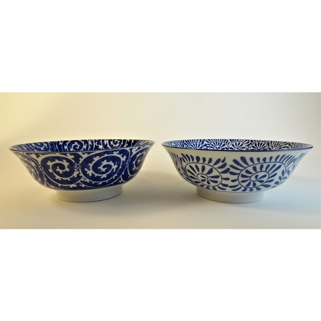 Chinoiserie Blue & White Serving Bowls - A Pair For Sale - Image 11 of 11