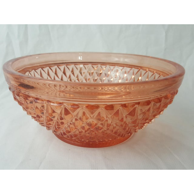 This Cambridge Glass Company bowl is in the Stratford pattern which was later called Mt. Vernon. It has a diamond point...