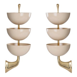 1950s Mid-Century Modern Stilnovo Tiered White Enamel and Polished Brass Sconces - a Pair For Sale