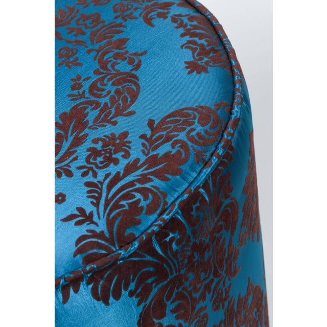 Pair of Blue and Brown Upholstered Stools For Sale In Los Angeles - Image 6 of 8