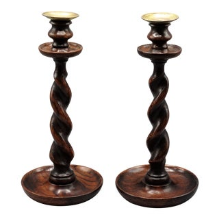 Antique English Oak Twist Candlesticks, a Pair For Sale
