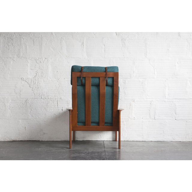 Danish High Back Lounge Chair & Ottoman - Image 7 of 10