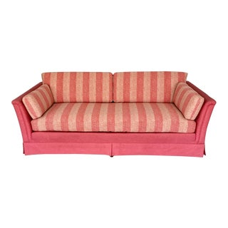 Drexel Mid-Century Hollywood Regency Coral Pink Tuxedo Sofa. For Sale