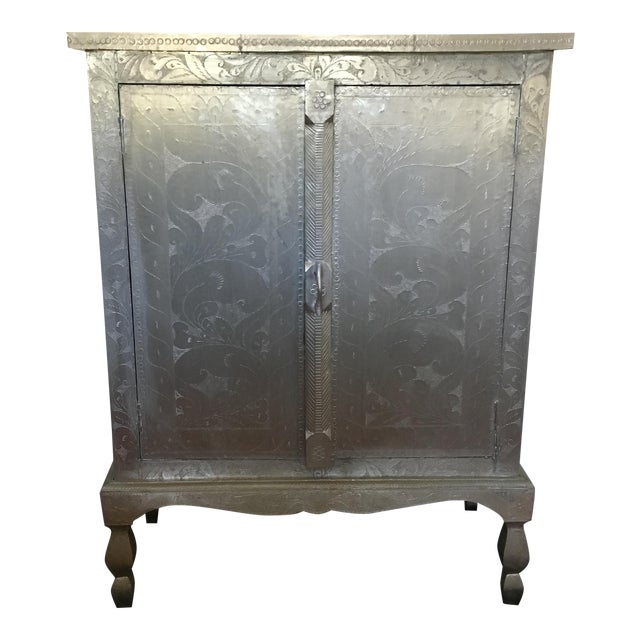 Indian Silver Etched Cabinet - Image 1 of 7