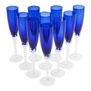 Vintage Cobalt Blue Crystal Champagne Flutes Imported From Croatia - Set of 10 For Sale