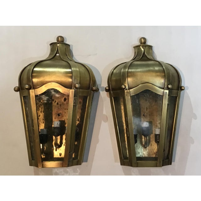 Hand Crafted Wall Mounted Brass Lanterns - A Pair For Sale - Image 10 of 11