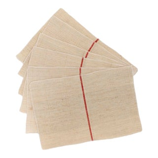 Placemats From Antique Belgian Hemp Flax Grain Sack Material, Set of 6 For Sale