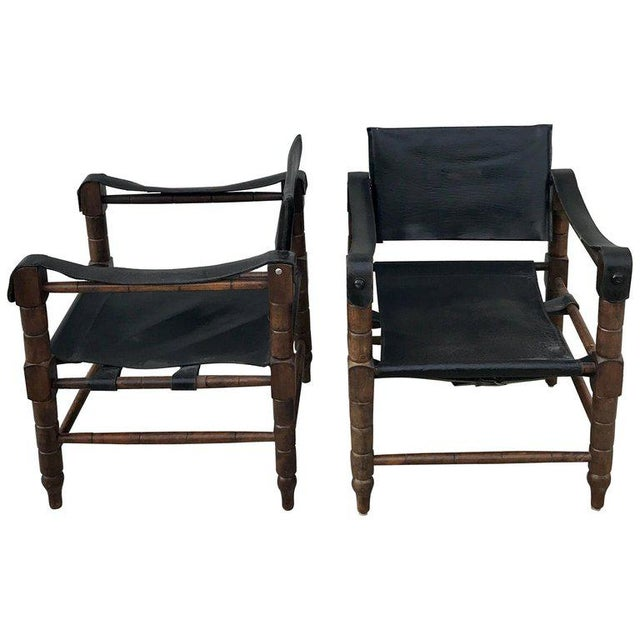 Pair of Syrian Leather Campaign / Safari Chairs For Sale - Image 12 of 12