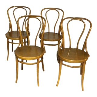 Vintage Thonet Bentwood Bistro Chairs - Set of 4 For Sale