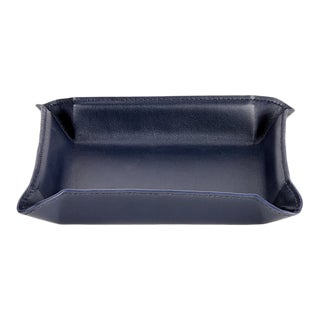 Valet Tray, Genuine Leather in Navy For Sale