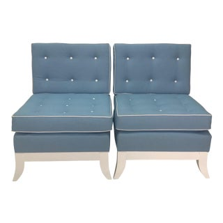 Light Blue Slipper Chairs - a Pair For Sale