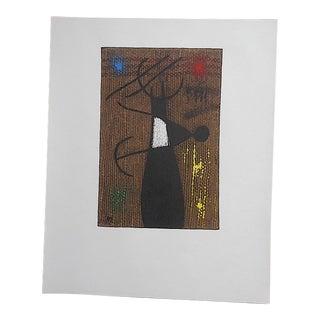 "Rare Vintage Mid 19th C. Abstract Ltd. Ed. Lithograph-Joan Miro-Signed-""Femme Et Oiseau""-Elephant Folio For Sale"