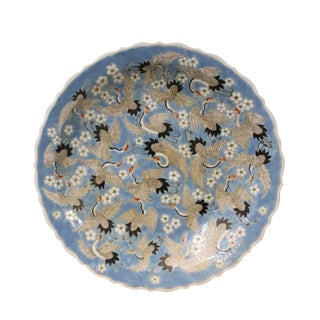Chinese Off White Cranes Light Blue Base Color Painting Porcelain Plate For Sale