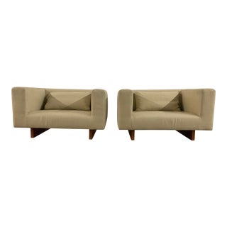 Modern Wide Seat Club Chairs - a Pair For Sale