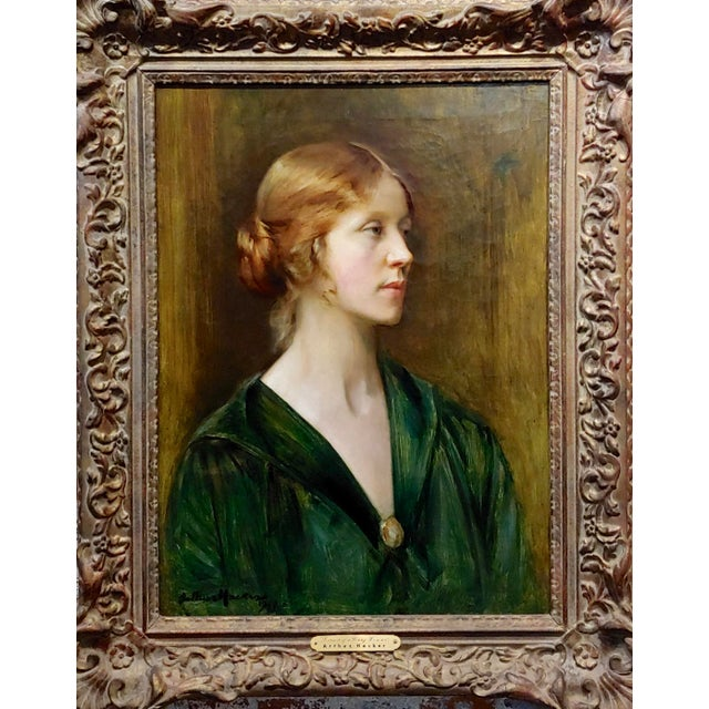 Arthur Hacker 1918 Portrait of a Sophisticated Red Haired Lady - Oil painting English impressionist Oil painting on canvas...