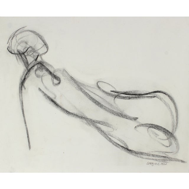 Vintage 1980 Loose Charcoal Figure Drawing - Image 1 of 2