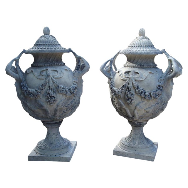 Stunning Pair of Cast Grey Stone Urns from the Margam Park Originals For Sale