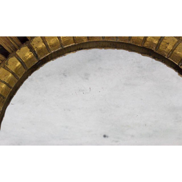 1950s Spanish, 1950s Giltwood Sunburst Mirror With Carved Frame For Sale - Image 5 of 6
