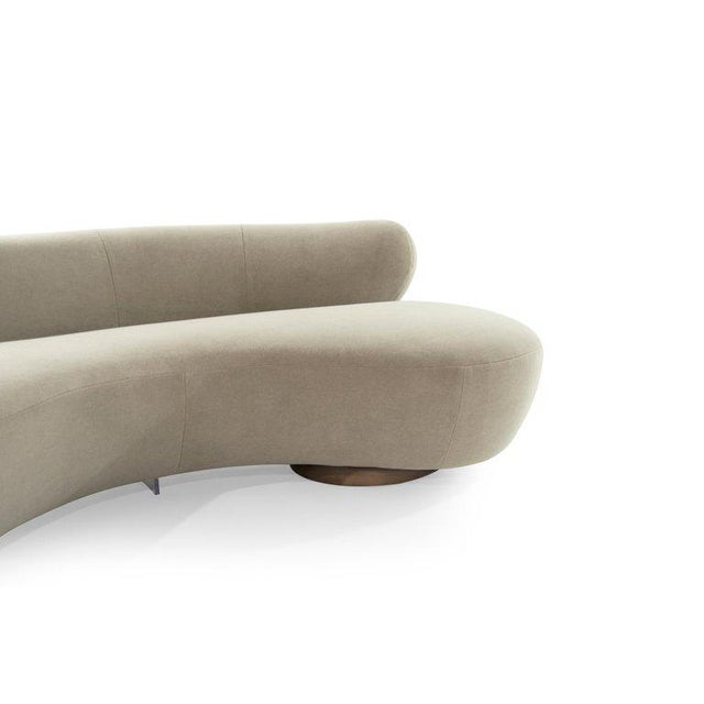 Lucite Curved Sofa on Walnut Bases by Vladimir Kagan for Directional For Sale - Image 7 of 13