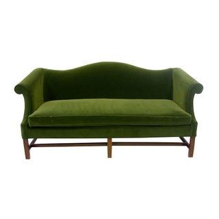 Green Velvet Camelback Sofa with Fretwork Legs For Sale